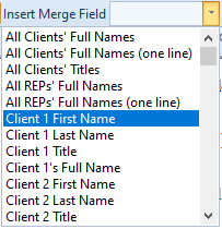 merge field drop down